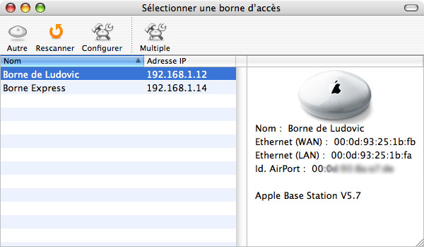 Macbook fr airport for Fenetre utilitaire mac